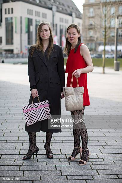 Iris and Simone Kuechler are seen with Marikas bags on February 7 2016 in Duesseldorf Germany