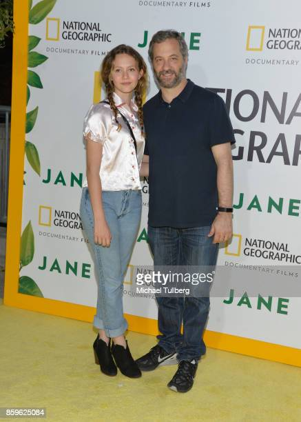 Iris Apatow and Judd Apatow attend the premiere of National Geographic Documentary Films' 'Jane' at the Hollywood Bowl on October 9 2017 in Hollywood...