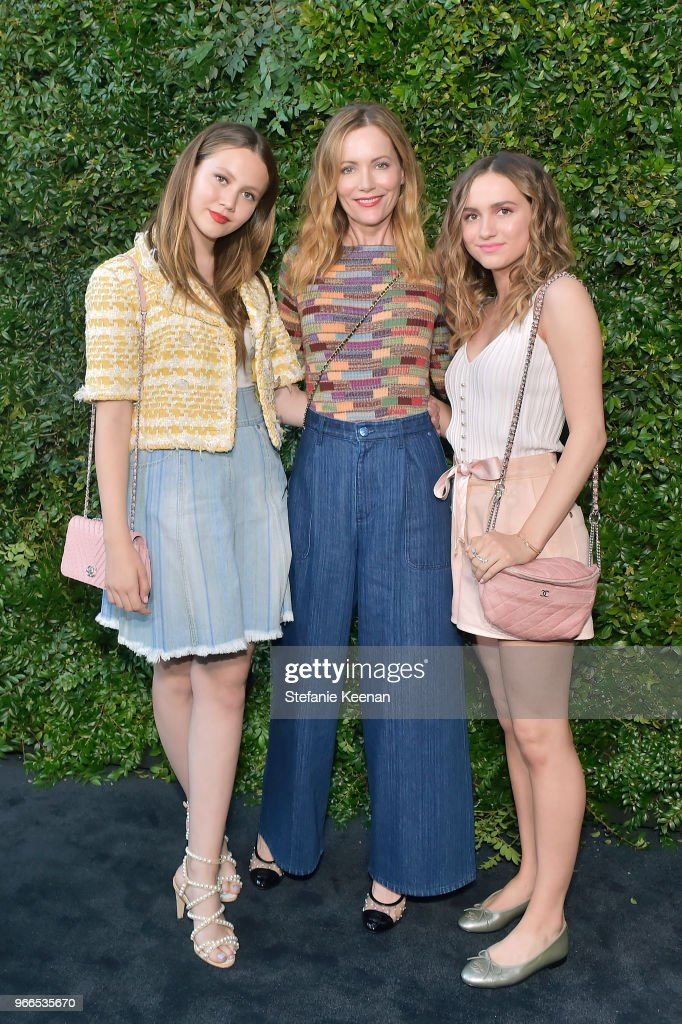 Iris Apatow, Leslie Mann, and Maude Apatow, all wearing Chanel, attend Chanel Dinner Celebrating our Majestic Oceans, A Benefit for NRDC at Private Residence on June 2, 2018 in Malibu, California.