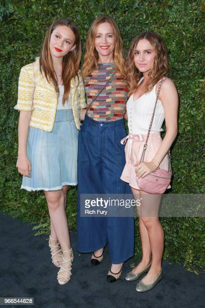 Iris Apatow Leslie Mann and Maude Apatow attend the CHANEL Dinner Celebrating Our Majestic Oceans A Benefit For NRDC on June 2 2018 in Malibu...