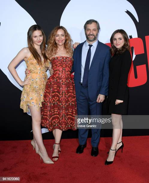 Iris Apatow Leslie Mann Judd Apatow and Maude Apatow attend the premiere of Universal Pictures' Blockers at Regency Village Theatre on April 3 2018...