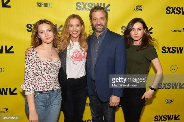 Iris Apatow Leslie Mann Judd Apatow and Maude Apatow attend the Blockers Premiere 2018 SXSW Conference and Festivals at Paramount Theatre on March 10...