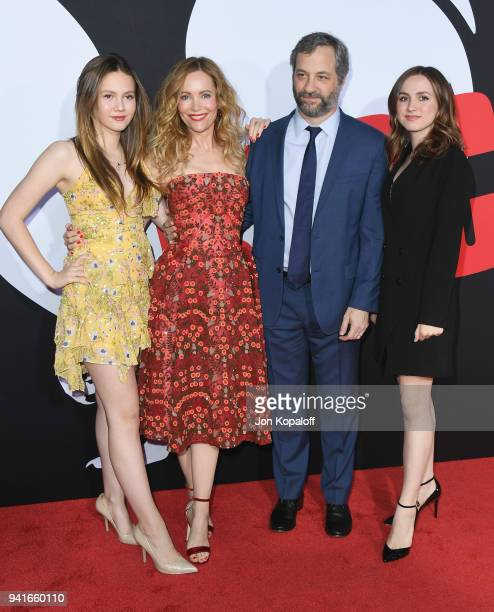 Iris Apatow Leslie Mann Judd Apatow and Maude Apatow attend Universal Pictures' 'Blockers' Premiere at Regency Village Theatre on April 3 2018 in...
