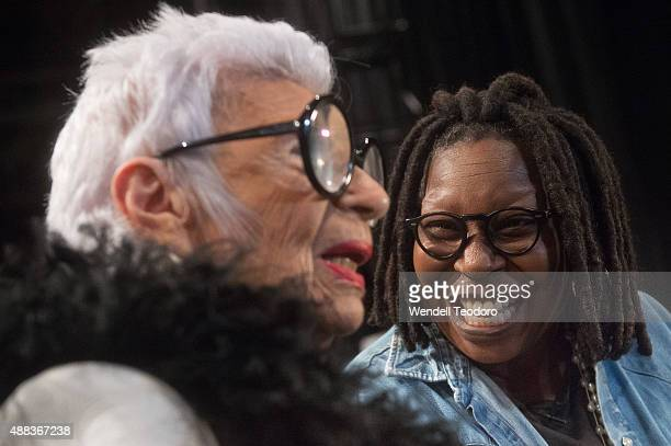 Iris Apfel and actor Whoopi Goldberg backstage before the Carmen Marc Valvo show at Pier 59 as part of Spring 2016 New York Fashion Week The Shows on...