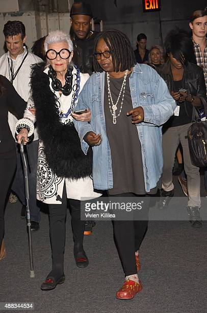 Iris Apfel and actress Whoopi Goldberg attend Carmen Marc Valvo Women's and Men's Collection S/S 2016 during New York Fashion Week The Shows at The...