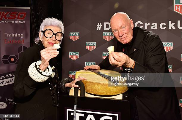 Iris Apfel and CEO of TAG Heuer JeanClaude Biver attend the Muhammad Ali tribute event at Gleason's Gym on October 25 2016 in New York City