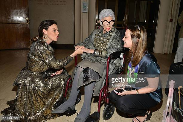Iris Apfel and Jennifer Ash Rudick attend the Film Independent at LACMA Screening and QA of Iris at Bing Theatre At LACMA on April 27 2015 in Los...