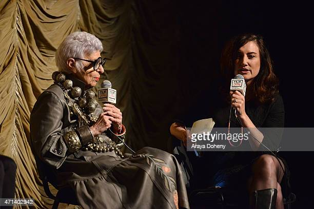 Iris Apfel and Madeleine Brand attend the Film Independent at LACMA Screening and QA of Iris at Bing Theatre At LACMA on April 27 2015 in Los Angeles...