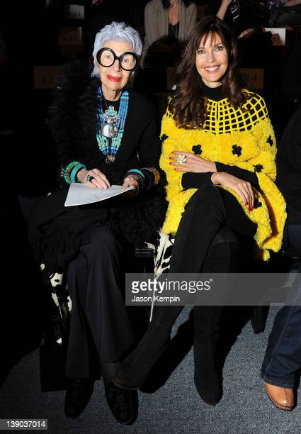 Iris Apfel and model Carol Alt attend the Joanna Mastroianni Fall 2012 fashion show during MercedesBenz Fashion Week at The Studio at Lincoln Center...