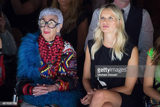 Iris Apfel and model Karolina Kurkova attend the Desigual fashion show during Spring 2016 New York Fashion Week at The Arc Skylight at Moynihan...