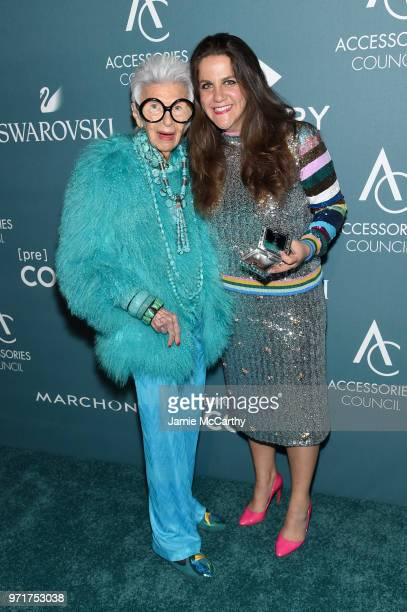 Iris Apfel and Rachel Shechtman pose backstage at the 22nd Annual Accessories Council ACE Awards at Cipriani 42nd Street on June 11 2018 in New York...