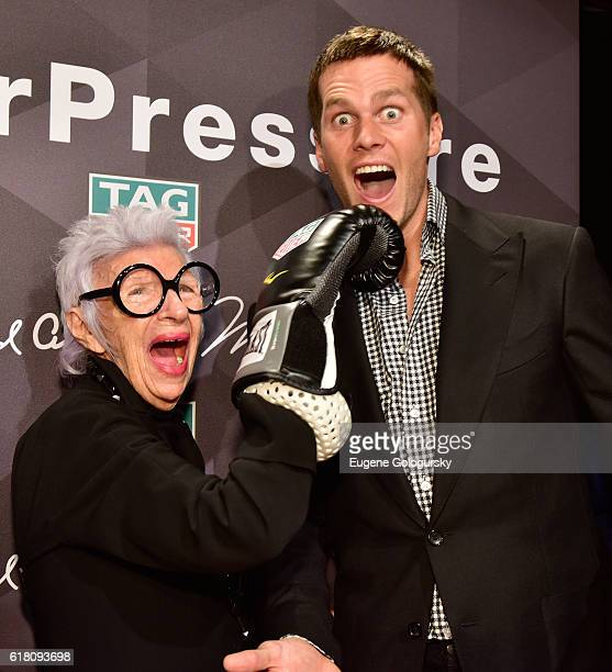 Iris Apfel and Tom Brady attend the Muhammad Ali tribute event at Gleason's Gym on October 25 2016 in New York City