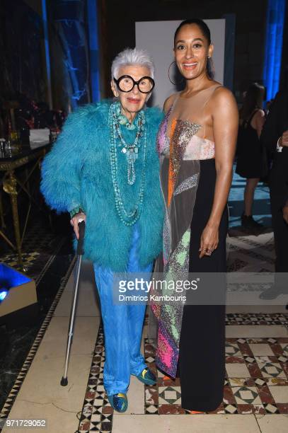 Iris Apfel and Tracee Ellis Ross attend the 22nd Annual Accessories Council ACE Awards at Cipriani 42nd Street on June 11 2018 in New York City