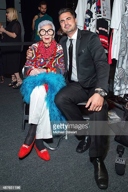 Iris Apfel and tv personality Rocco Leo Gaglioti attend the Desigual fashion show during Spring 2016 New York Fashion Week at The Arc Skylight at...
