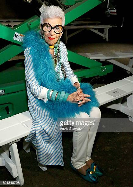 Iris Apfel attends front row at Monse September 2016 New York Fashion Week at Art Beam on September 9 2016 in New York City