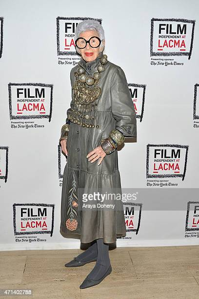 Iris Apfel attends the Film Independent at LACMA Screening and QA of 'Iris' at Bing Theatre At LACMA on April 27 2015 in Los Angeles California