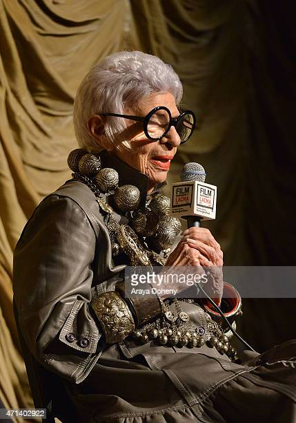 Iris Apfel attends the Film Independent at LACMA Screening and QA of Iris at Bing Theatre At LACMA on April 27 2015 in Los Angeles California