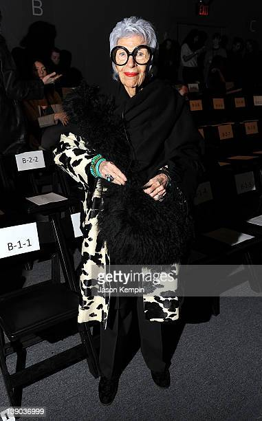 Iris Apfel attends the Joanna Mastroianni Fall 2012 fashion show during MercedesBenz Fashion Week at The Studio at Lincoln Center on February 15 2012...