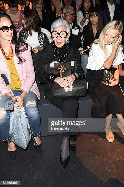Iris Apfel attends the Naeem Khan fashion show during New York Fashion Week The Shows at The Arc Skylight at Moynihan Station on September 14 2016 in...