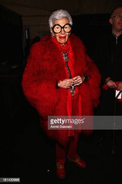 Iris Apfel attends the Ralph Rucci Fall 2013 fashion show during MercedesBenz Fashion Week at The Theatre at Lincoln Center on February 10 2013 in...