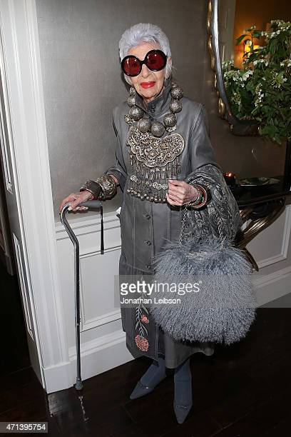 Iris Apfel attends VIOLET GREY's She's So Violet Garden Tea honoring Iris Apfel on April 27 2015 in Los Angeles California