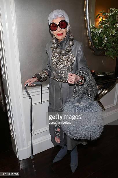 Iris Apfel attends VIOLET GREY's She's So Violet Garden Tea honoring Iris Apfel on April 27 2015 in Los Angeles California