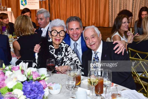 Iris Apfel David R Weinreb and Neil Weinreb attend the Alzheimer's Drug Discovery Foundation's Ninth Annual Fall Symposium Luncheon at The Pierre...