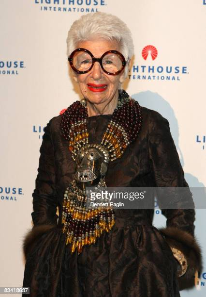 Iris B Apfel attends the 2008 Lighthouse International Light Years Gala at Cipriani 42nd Street on October 20 2008 in New York City
