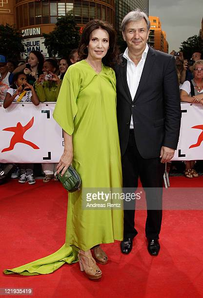Iris Berben and Berlin's mayor Klaus Wowereit attend the First Steps Award 2011 at the Theater Am Potsdamer Platz on August 23 2011 in Berlin Germany