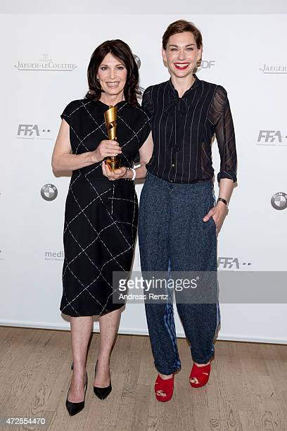 Iris Berben and Christiane Paul attend the nominations announcement for the German Film Award 2015 Lola at Deutsche Kinemathek on May 7 2015 in...