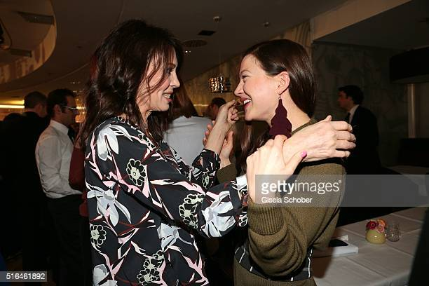 Iris Berben and Hannah Herzsprung during the 'Vogue loves Breuninger' fashion event on March 18 2016 in Stuttgart Germany
