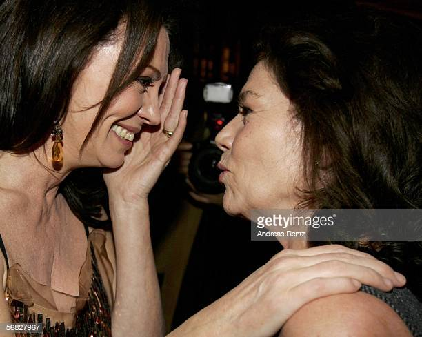 Iris Berben and Hannelore Elsner attend the 'Elementary Particles' premiere party at the China Club at the Adlon Hotel on February 11 2006 in Berlin...