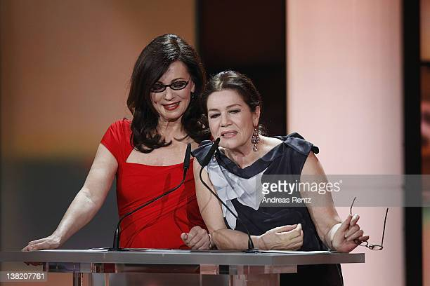 Iris Berben and Hannelore Elsner present the Lifetime Achievement Award National at the 47th Golden Camera Awards at the Axel Springer Haus on...