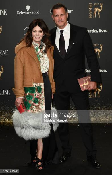 Iris Berben and Heiko Kiesow arrive at the Bambi Awards 2017 at Stage Theater on November 16 2017 in Berlin Germany