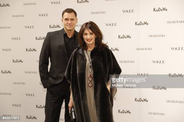 Iris Berben and Heiko Kiesow at the Sparkling Looks reception and trunk show at KaDeWe on February 16, 2017 in Berlin, Germany.