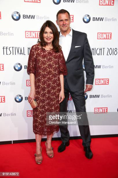 Iris Berben and Heiko Kiesow attend the BUNTE BMW Festival Night on the occasion of the 68th Berlinale International Film Festival Berlin at...