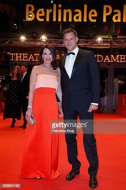 Iris Berben and Heiko Kiesow attend the opening party of the 66th Berlinale International Film Festival Berlin at Berlinale Palace on February 11,...
