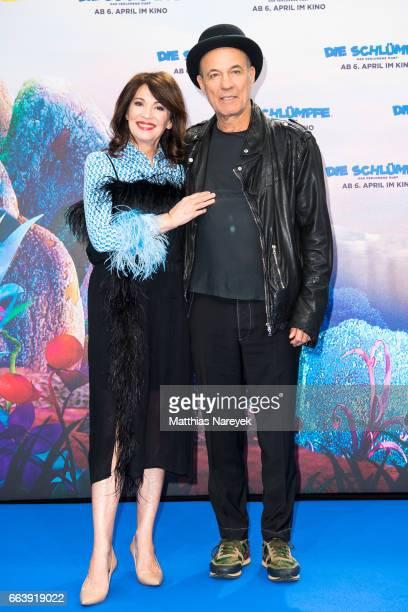 Iris Berben and Heiner Lauterbach attend the 'Die Schluempfe Das verlorene Dorf' Berlin Premiere at Sony Centre on April 2 2017 in Berlin Germany