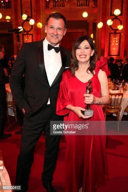 Iris Berben and her boyfriend Heiko Kiesow and award during the 29th ROMY award at Hofburg Vienna on April 7, 2018 in Vienna, Austria.