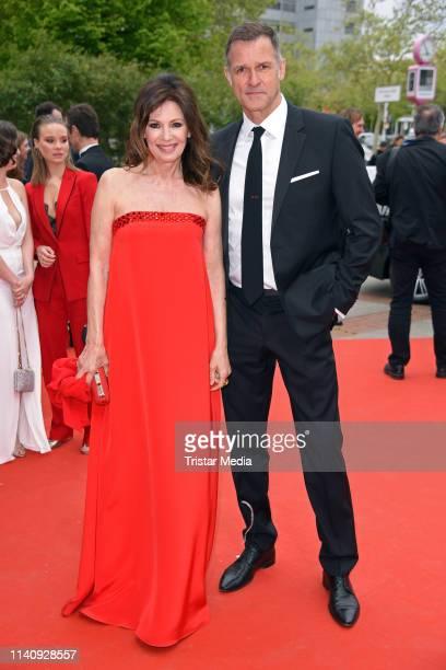 Iris Berben and her boyfriend Heiko Kiesow arrive at the German Film Award 2019 at Palais am Funkturm on May 3, 2019 in Berlin, Germany.