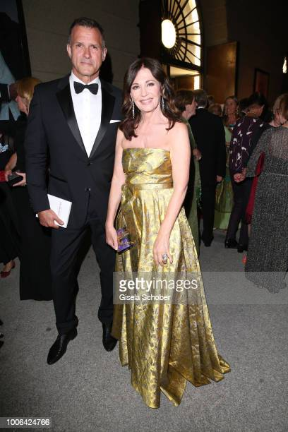 Iris Berben and her boyfriend Heiko Kiesow during the premiere of 'Die Zauberfloete' during the Salzburg Festival 2018 at Salzburg State Theatre on...