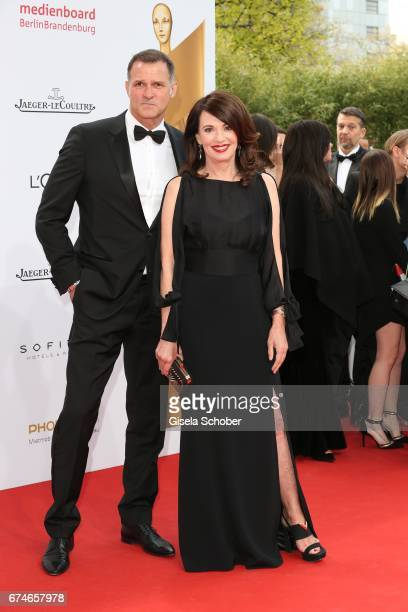 Iris Berben and her partner Heiko Kiesow during the Lola German Film Award red carpet arrivals at Messe Berlin on April 28 2017 in Berlin Germany