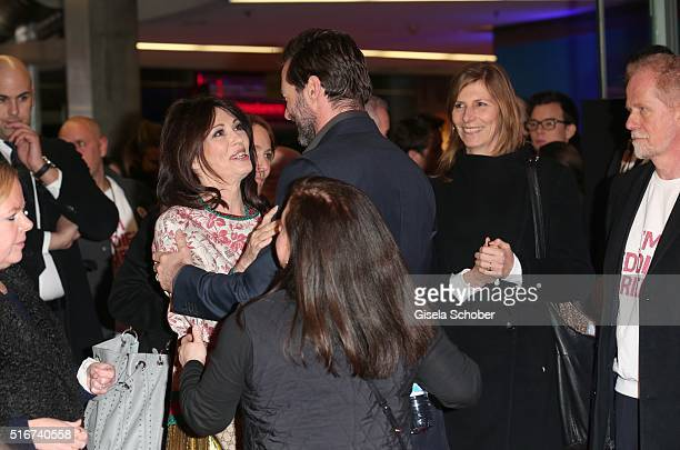 Iris Berben and Hugh Jackman during the 'Eddie the Eagle' premiere at Mathaeser Filmpalast on March 20 2016 in Munich Germany