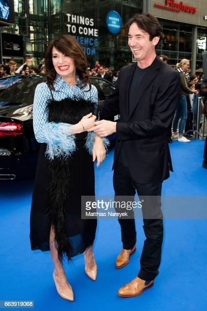 Iris Berben and Martin Bachmann attend the 'Die Schluempfe Das verlorene Dorf' Berlin Premiere at Sony Centre on April 2 2017 in Berlin Germany