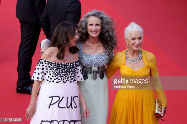"""Iris Berben, Andie MacDowell and Dame Helen Mirren attends the """"Annette"""" screening and opening ceremony during the 74th annual Cannes Film Festival..."""