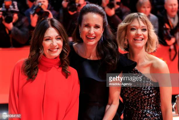 Iris Berben , Andie MacDowell and Heike Makatsch attend the 'The Kindness Of Strangers' premiere within the 69th Berlinale International Film...