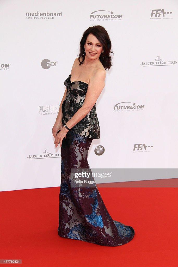 Iris Berben arrives to the German Film Award 2015 Lola (Deutscher Filmpreis) at Messe Berlin on June 19, 2015 in Berlin, Germany.