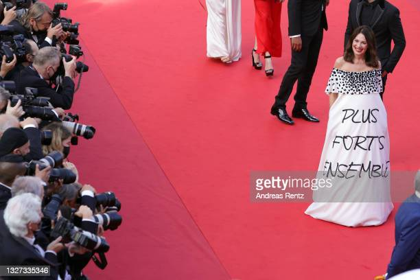 """Iris Berben attends the """"Annette"""" screening and opening ceremony during the 74th annual Cannes Film Festival on July 06, 2021 in Cannes, France."""