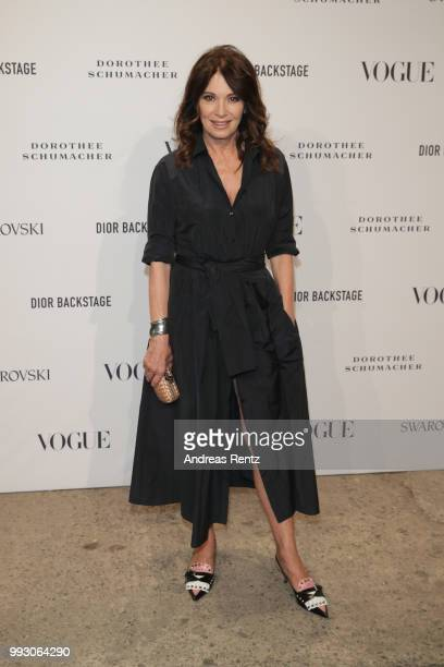 Iris Berben attends the VOGUE Fashion Party at Kunstareal am Weissensee on July 6, 2018 in Berlin, Germany.