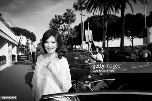 Iris Berben departs the Martinez Hotel on May 21 2017 in Cannes France